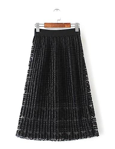 Damen Einfach Street Schick Mittlere Hüfthöhe Midi Röcke A-Linie,Spitze einfarbig