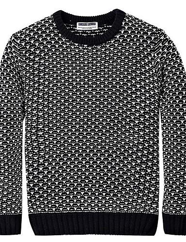 Herren Standard Pullover-Lässig/Alltäglich Street Schick Solide Rundhalsausschnitt Langarm Acryl Frühling Herbst Mittel Mikro-elastisch