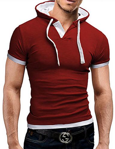 voordelige Heren T-shirts & tanktops-Heren Actief T-shirt Effen Overhemdkraag Lichtblauw / Korte mouw / Zomer