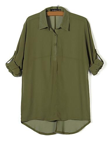 Mulheres Blusa Sólido Poliéster Colarinho de Camisa