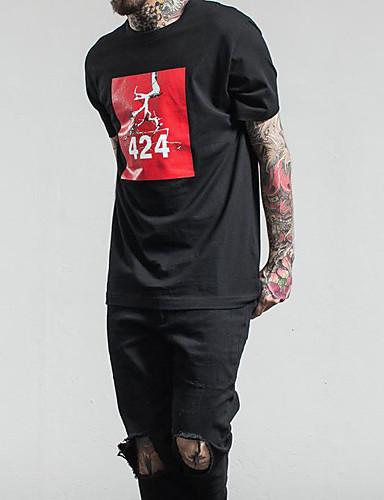 Herrn Freizeit Alltag T-shirt, Rundhalsausschnitt Ganzjährig Kurzarm Baumwolle