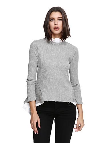 Damen Solide Ausgehen Niedlich Übergrössen Pullover Langarm Ständer Winter Herbst Baumwolle