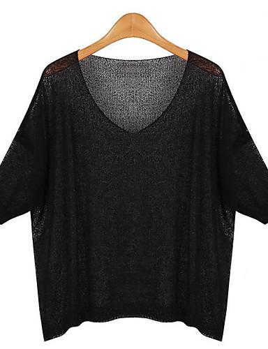 Damen Standard Pullover-Lässig/Alltäglich Einfach Solide Schwarz Grau Rundhalsausschnitt Kurzarm Acryl Frühling Sommer Mittel