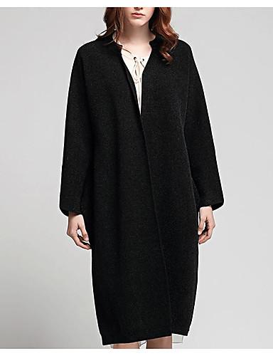Damen Standard Strickjacke-Ausgehen Sexy Solide Schwarz Hemdkragen Langarm Polyester Frühling Mittel Mikro-elastisch