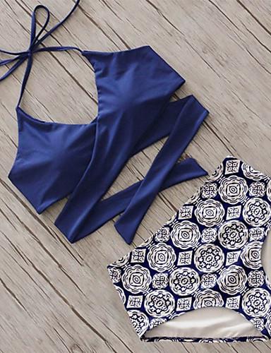Mulheres Nadador Floral / Sólido / Esportes Biquíni - Tribal, Estampado / Cintura Alta