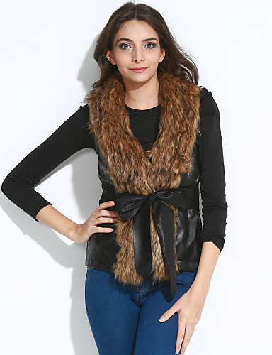 Women's Sophisticated Summer Fur Coat,Solid V Neck Sleeveless Short Faux Fur Bow