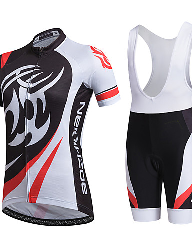 cheap Cycling Clothing-AOZHIDIAN Women's Short Sleeve Cycling Jersey with Bib Shorts - White Bike Clothing Suit Breathable Quick Dry Back Pocket Sweat-wicking Sports Coolmax® Mesh Silicon Classic Mountain Bike MTB Road