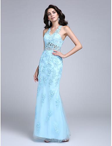 מעטפת \ עמוד צווארון וי עד הריצפה תחרה טול נשף ערב רישמי שמלה עם חרוזים אפליקציות על ידי TS Couture®
