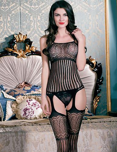 Női Extra méret Szuper szexi Teddy Ultra szexi Csipke fehérnemű Harisnyakötős fehérnemű Hálóruha - Háló, Egyszínű