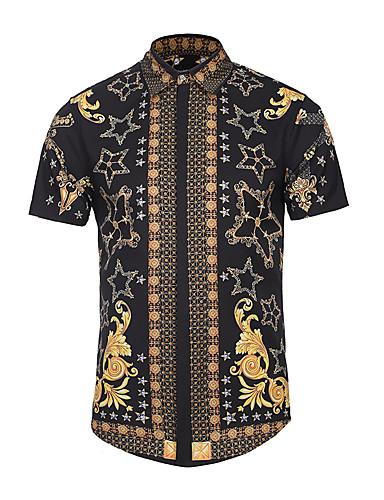 Tynn Klassisk krage Skjorte Herre - Geometrisk, Trykt mønster / Kortermet
