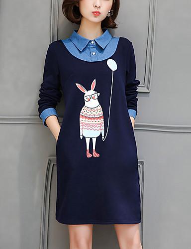 Women's Street chic Cotton Shift Dress - Print / Patchwork Shirt Collar