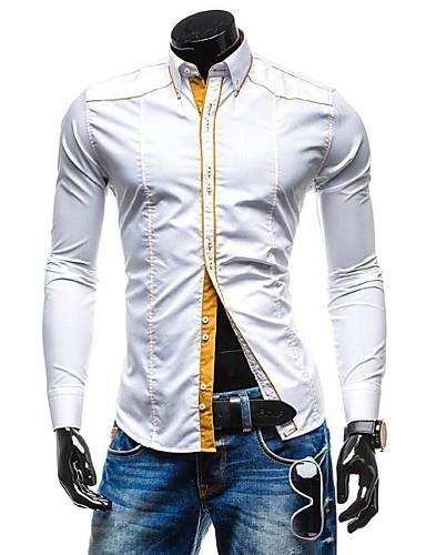 Bomull Skjorte Herre - Ensfarget Arbeid / Langermet