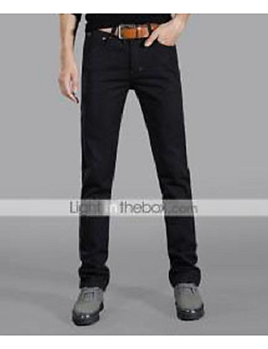Herrn Baumwolle Denim Jeans Hose Solide