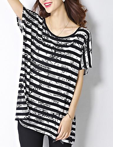 abordables Hauts pour Femme-Tee-shirt Femme, Rayé Travail simple / Rétro Vintage Noir / Eté