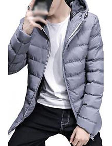 コート レギュラー パッド入り 男性,カジュアル/普段着 プラスサイズ ソリッド ポリエステル コットン-シンプル キュート ストリートファッション 長袖 フード付き ブルー レッド ブラック グレイ イエロー