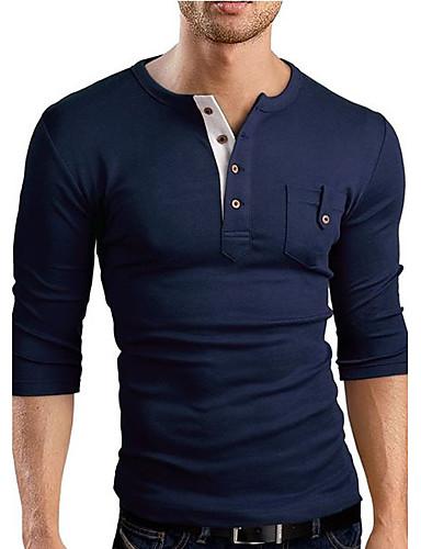 voordelige Heren T-shirts & tanktops-Heren T-shirt Sport Effen V-hals Slank Marineblauw / Lange mouw