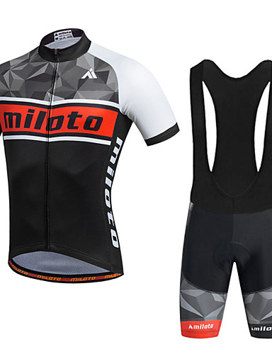 cheap Cycling Clothing-Miloto Men's Short Sleeve Cycling Jersey with Bib Shorts - Black Bike Shorts Bib Shorts Jersey Breathable 3D Pad Quick Dry Reflective Strips Sweat-wicking Sports Polyester Silicon Geometry Mountain