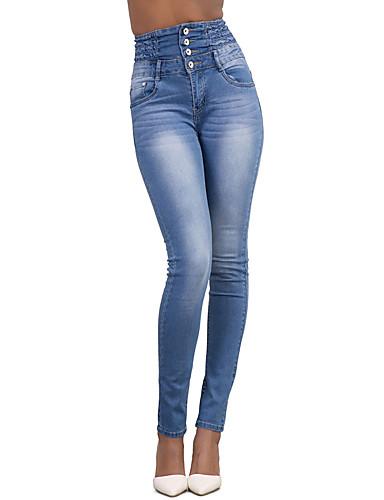 Mulheres Cintura Alta Skinny Jeans Calças - Sólido, Férias