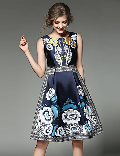 Maxlindy Women's Vintage Sophisticated Street chic A Line Dress - Patchwork