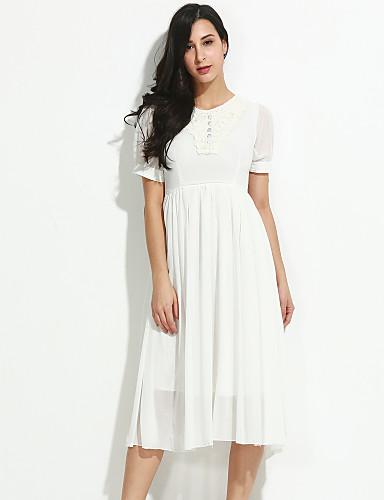 Γυναικείο Εξόδου Σέξι Swing Φόρεμα,Μονόχρωμο Κοντομάνικο Στρογγυλή Λαιμόκοψη Μίντι Καλοκαίρι Κανονική Μέση Μικροελαστικό Μεσαίου Πάχους