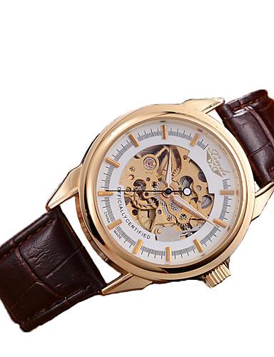 Hombre Reloj Esqueleto / El reloj mecánico Cuero Auténtico Banda Marrón / Cuerda Automática