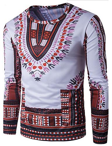 Camiseta - Esportes Boho Estampado, Tribal Algodão Delgado / Manga Longa