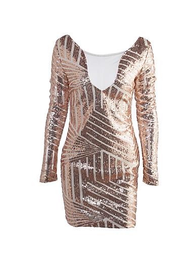 voordelige Sexy jurken-Dames Club Street chic Bodycon Jurk - Patchwork, Pailletten Netstof Boven de knie