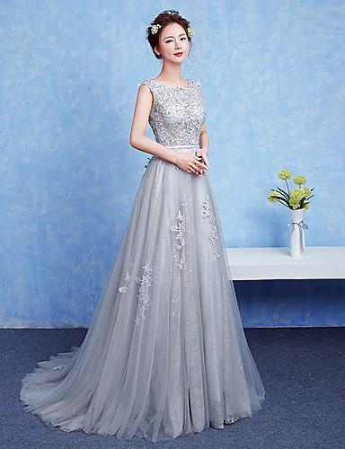 A-Linie U-Ausschnitt Boden-Länge Perlen Spitze Formeller Abend Kleid mit Schärpe / Band durch TS Couture®