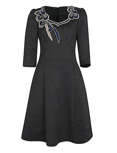hesapli Kadın Elbiseleri-Kadın's Büyük Bedenler Dışarı Çıkma A Şekilli Elbise - Solid, Nakış Diz-boyu