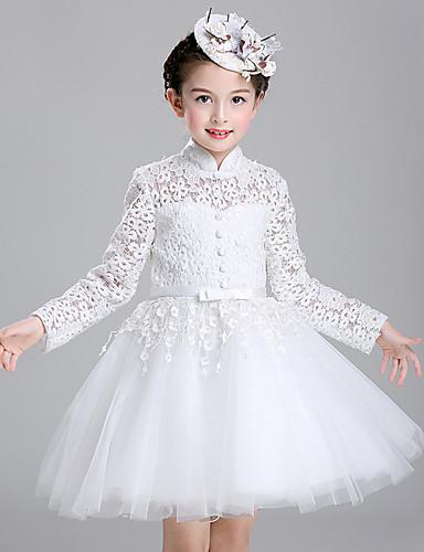 a67369f909b5 Βραδινή τουαλέτα Μέχρι το γόνατο Φόρεμα για Κοριτσάκι Λουλουδιών - Βαμβάκι    Δαντέλα   Τούλι Μακρυμάνικο. Συντάκτης φωτογραφιών Πάροχος