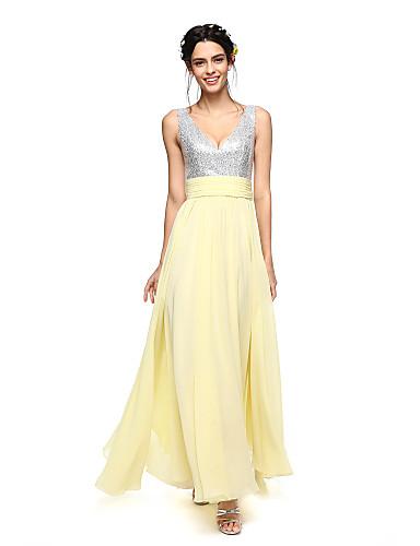Linha A Decote V Até o Tornozelo Chiffon / Paetês Vestido de Madrinha com Faixa / Fita / Franzido de LAN TING BRIDE® / Brilho & Glitter