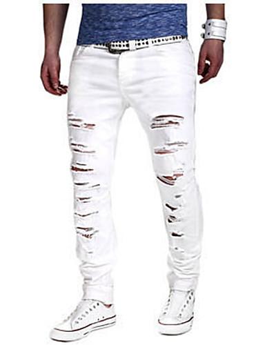 Bomull Tynn Chinos / Jeans Bukser - dratt, Ensfarget