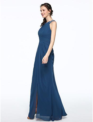 ec789d4acb37 A tubino Con decorazione gioiello Lungo Chiffon Vestito da damigella con  Perline   A pieghe di LAN TING BRIDE®