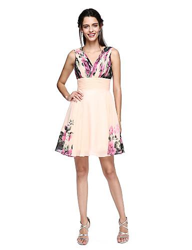 A-linje V-hals Knelang Chiffon Skoleball Kjole med Drapering / Mønster / trykk av TS Couture®