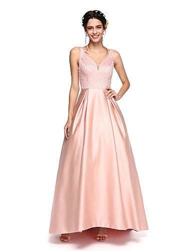 Corte en A Escote en Pico Asimétrica Satén Vestido de Dama de Honor con Cuentas / Plisado por LAN TING BRIDE® / Brillos Y Estrellas