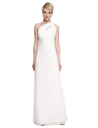e59d01fdbe Sheath   Column One Shoulder Floor Length Chiffon Bridesmaid Dress with  Sash   Ribbon   Side Draping   Ruched by LAN TING BRIDE®