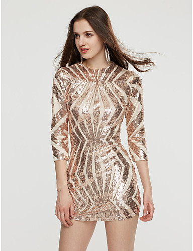 voordelige Sexy jurken-Dames Club Street chic Bodycon Jurk - Effen, Blote rug Pailletten Strakke ronde hals Boven de knie