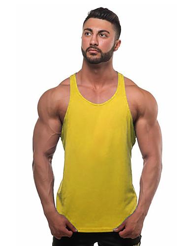 billige T-shirts og undertrøjer til herrer-Herre - Ensfarvet Bomuld, Basale Aktiv Sport / Strand Tank Tops Grå L / Uden ærmer / Sommer