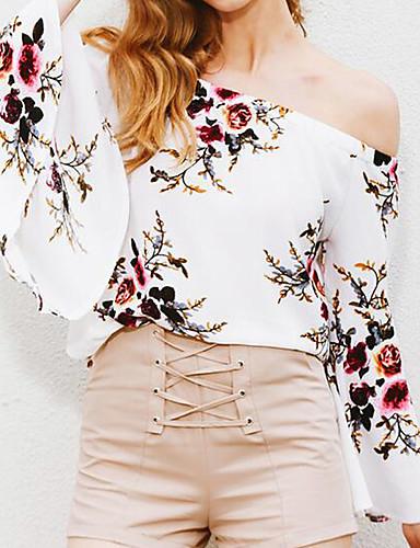 Mulheres Blusa - Feriado / Para Noite Floral Ombro a Ombro / Verão
