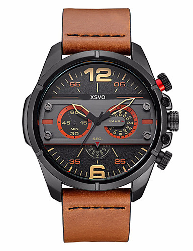 Homens Relógio Esportivo / Relógio Militar / Relógio de Pulso Legal / Punk Couro Legitimo Banda Amuleto / Vintage / Casual Preta / Marrom / Aço Inoxidável