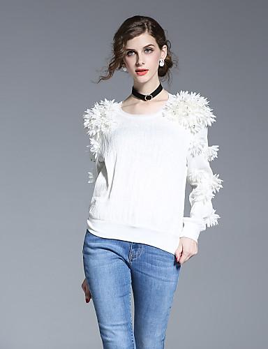 Camicia Per Donna Per Uscire Essenziale Con Perline, Tinta Unita #05629405 Carattere Aromatico E Gusto Gradevole
