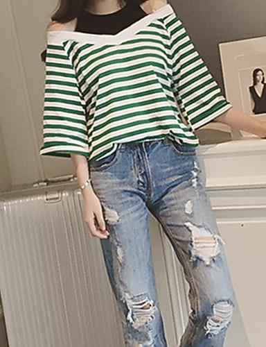 billige Dametopper-T-skjorte Dame - Stripet Gatemote / Sofistikert Ut på byen / Arbeid Grønn / Vår / Sommer / fin Stripe