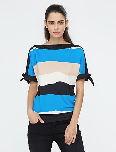 Tee-shirt Femme,Rayé Sortie Grandes Tailles Chic de Rue Eté Manches Courtes Col Arrondi Polyester Moyen