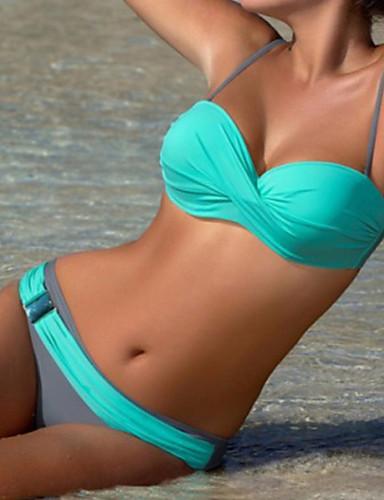Damen Bandeau Bikinis Einfarbig Gurt Unterhosen