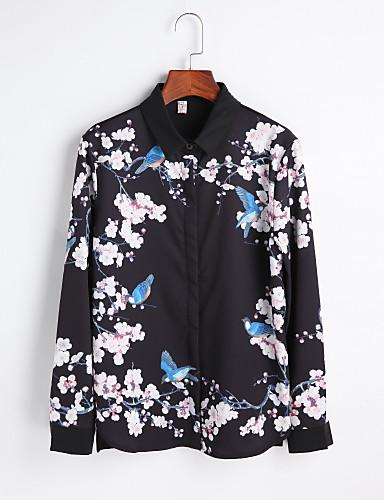 Mulheres Camisa Social Diário Vintage Primavera, Floral Fibra Sintética Colarinho de Camisa Manga Longa