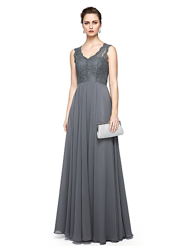 Eng anliegend V-Ausschnitt Boden-Länge Chiffon Spitze Formeller Abend Kleid mit Spitze durch TS Couture®