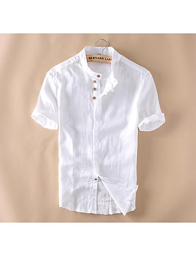 hesapli Erkek Gömlekleri-Erkek Keten Dik Yaka İnce - Gömlek Temel, Solid Çin Stili Beyaz / Kısa Kollu / Yaz