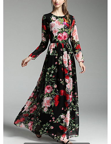 dc1c9da4897a Women's Floral Holiday Going out Sophisticated Maxi Swing Dress - Floral  Print Spring Black L XL XXL