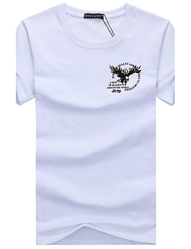 男性用 スポーツ - プリント プラスサイズ Tシャツ ベーシック ラウンドネック スリム 幾何学模様 コットン / 半袖