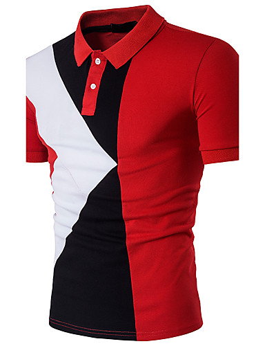 voordelige Best verkocht-Heren Actief Patchwork Polo Katoen Kleurenblok Overhemdkraag Slank Zwart L / Korte mouw / Zomer